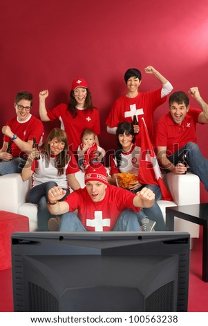 Photo of Swiss sports fans watching television and cheering for their team. Plenty of copyspace. - stock photo