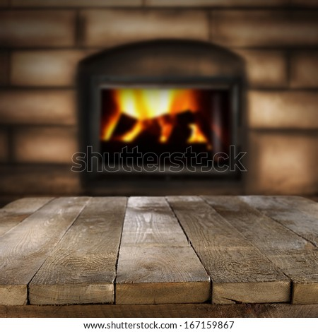 photo of table and retro fireplace