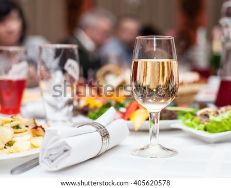 Photo of table with food and different drinks