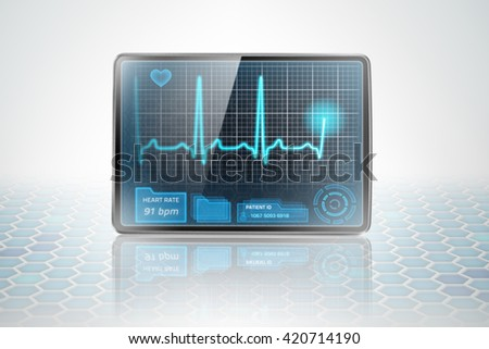 Photo of tablet displaying ECG on futuristic background - stock photo
