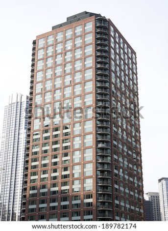 Photo of tall buildings from South Loop in Chicago. Cityscape.  - stock photo