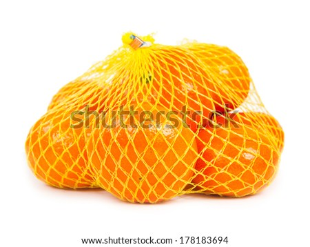 Photo of tangerines in a yellow bag isolated on white
