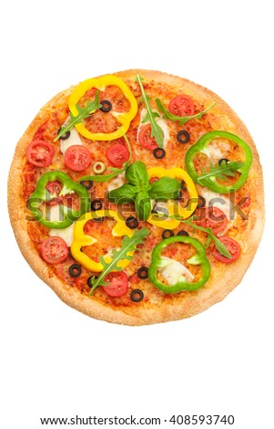 Photo of tasty pizza with paprika over white isolated background