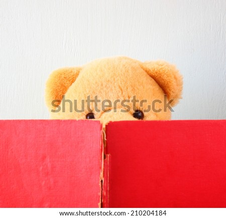 photo of teddy bear reading book. education or playing concept. - stock photo