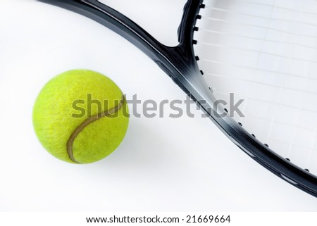 Photo of tennis racket and balls isolated on the white - stock photo