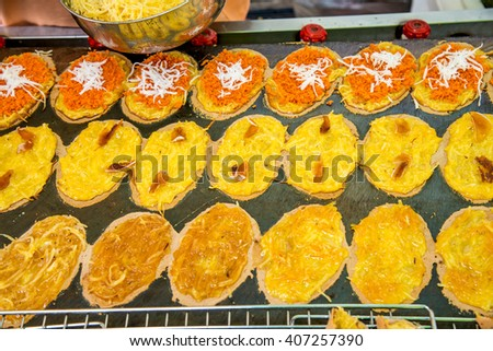 Photo of thai pancake it is delicious snacks for any time - stock photo