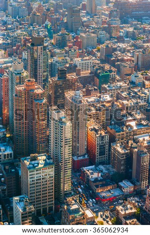 Photo of the busy streets and buildings in New York city. - stock photo