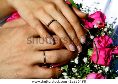 Photo of the close-up hands of bride and  bridegroom
