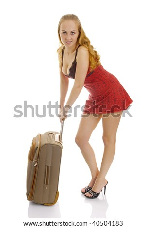 Photo of the cute woman in short dress with suitcase. Isolated.