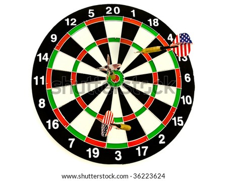 photo of the darts arrows in the dartboard against the white background