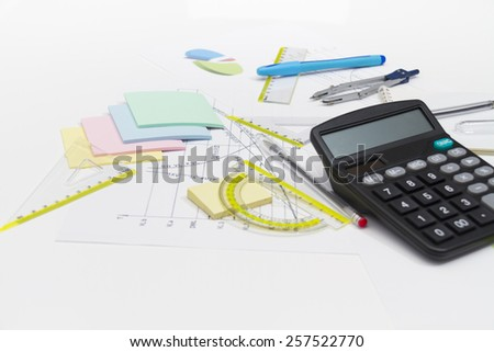 Photo of the Drawing tools with compass and calculator - stock photo