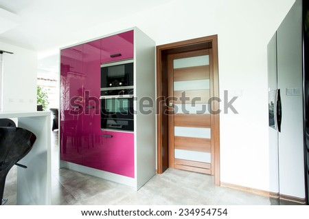 Photo of the entrace to the new luxury kitchen - stock photo