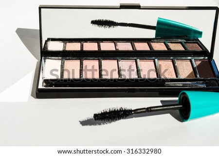 Photo of the  Eyeshadow Palette with mascara brush - stock photo