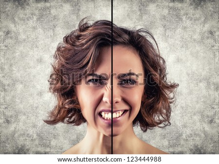 Photo of the girl with a different emotions on a face - stock photo