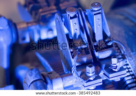 photo of the historic machines in macro photography, detail,the color of the object obtained by lighting in the shooting phase and not in the post-production