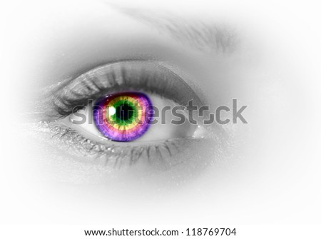 Photo of the human eye against grey background - stock photo