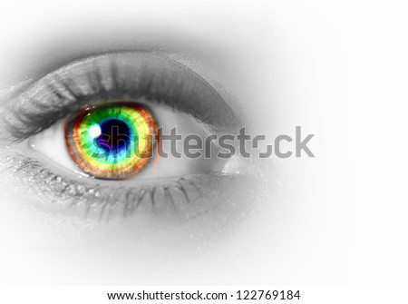 Photo of the human eye against grey background