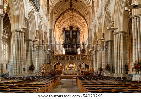 Photo of the inside of exeter cathedral