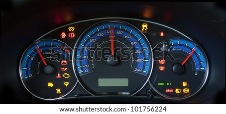 Photo of the lit up  subaru forester dashboard. - stock photo