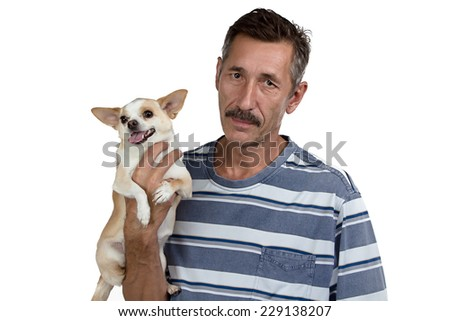 Photo of the old man and his small dog on white background