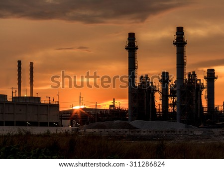 Photo of the power plant in the evening. - stock photo