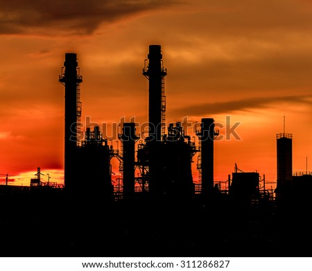 Photo of the power plant in the evening.