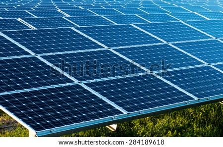 Photo of the solar panels as renewable source of energy.