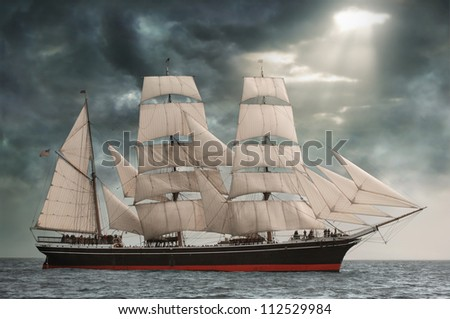 Photo of the Star of India on the high seas - stock photo