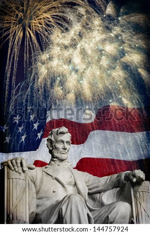 Photo of the statue of Abraham Lincoln at the Lincoln Memorial with a flag and fireworks in the background. Nice patriotic image for Independence Day, Memorial Day, Veterans Day and Presidents Day. - stock photo