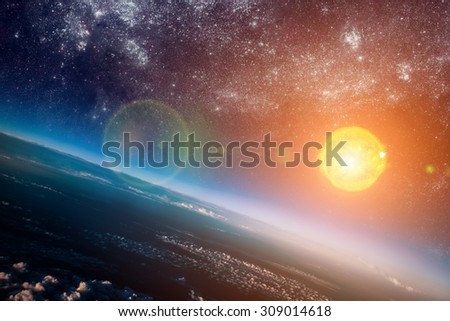 Photo of the sun in space. Elements of this image furnished by NASA. - stock photo