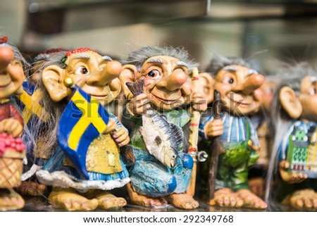 Photo of the Swedish troll figurines - stock photo