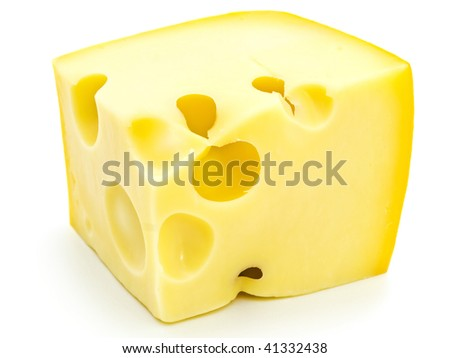 Photo of the tasty yellow piece of cheese against the white background