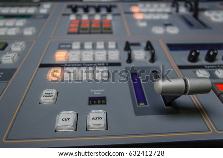 Photo of the Video and audio Control Mixing Desk, Television Broadcasting