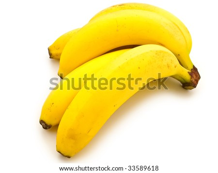 photo of the yellow banana against the white background