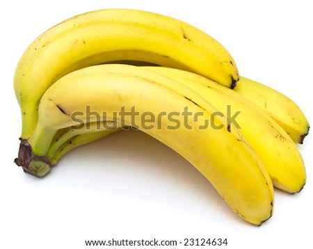 Photo of the yellow bananas against the white background