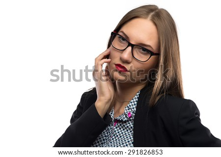 Photo of thoughtful woman with hand near mouth on white background