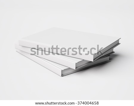 Photo of three blank white books isolated on White background. 3d render - stock photo