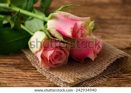 Photo of three nice pink roses which are placed on jute cloth with nice texture and everything is on the old worn wooden board. - stock photo