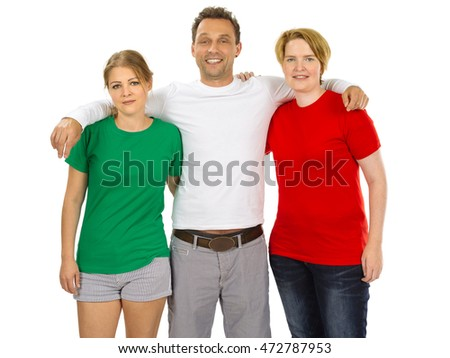 Photo of three people wearing green, white, and red blank t-shirts as the colours of the flag of Italy. Ready for your design or artwork.