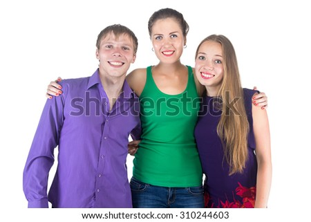 Photo of three very happy smiling friends on white background