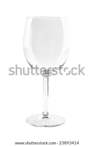 Photo of transparent wine glass isolated over white background. Included clipping path. - stock photo