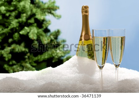 Photo of two champagnes with bottle and fir-tree branch at background in snow - stock photo
