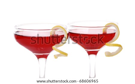 Photo of two Cosmopolitan cocktails with lemon garnish