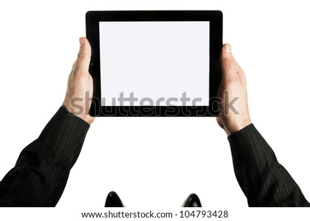 Photo of two hands holding tablet pc on white background - stock photo