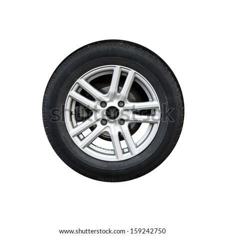 Photo of usual automotive wheel on light alloy disc isolated on white background - stock photo