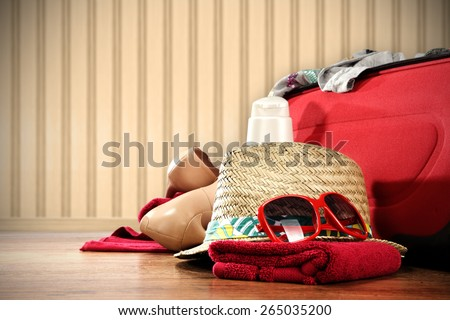 photo of vacation time and hat with red glasses  - stock photo