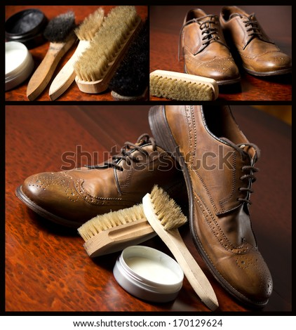 Photo of various brushes on wooden table used for polishing shoes.Male fashion with shoes