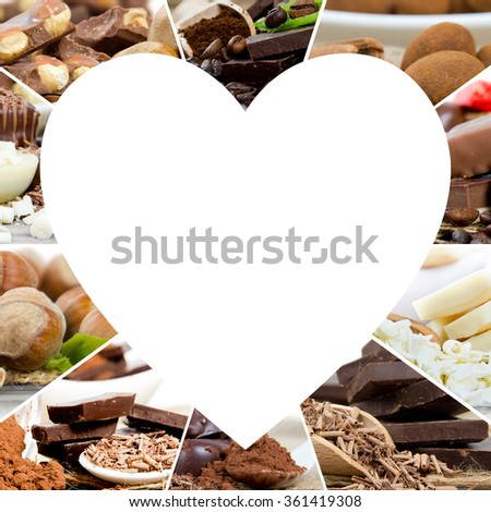 Photo of various kinds of chocolate and candy mix with white heart space