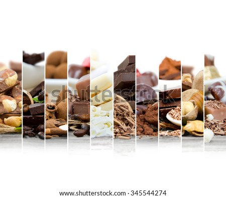 Photo of various kinds of chocolate and candy mix with white space - stock photo