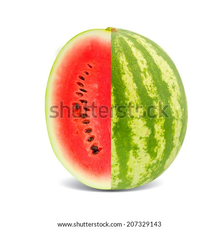 Photo of watermelon slice isolated on white